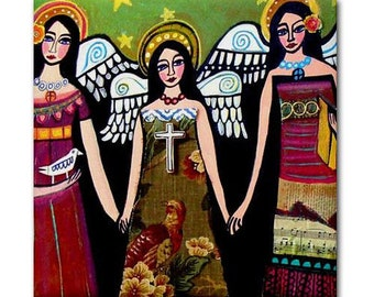 Angel Art Tile Ceramic Coaster Mexican Folk Art Print of painting by Heather Galler Virgin of Guadalupe