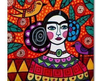 Mexican Folk Art Ceramic Tile Frida Kahlo Orange Red