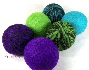 Wool Dryer Balls - 80s Neon Dance Party - Set of 6 Eco Friendly - Can be Scented or Unscented