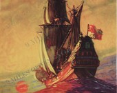 Reserved for Wendy Vintage Calendar Print Sailing Ship on the Rolling Sea