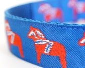 Orange Dala Horses Dog Collar, 1 inch width,  Big Dog Collar / Adjustable