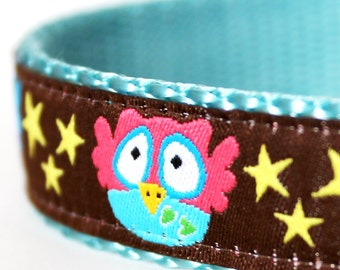 Owls and Stars Dog Collar / Adjustable Dog Collar/ European Ribbon Collar