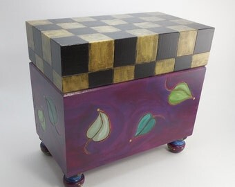 Folk Art Checkerboard Recipe Box