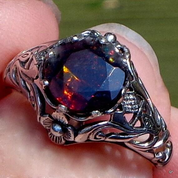 Black Welo Opal Red Fire Opal Black Opal Ring Ethiopian