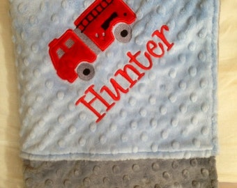Personalized Monogrammed Firetruck Crib Blanket in Blue and Grey Minky