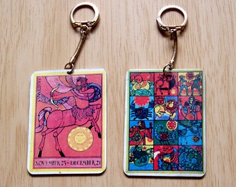 Flower Child Sagittarius Zodiac Key Chain from the 1970's 10% off from 15.00 Exp 11/26 2017
