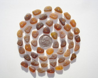 Drilled Genuine Hawaii Beach Sea Glass 50 Tiny Center Drilled Light & Dark Amber Beads Jewelry Quality 9-12mm In Length