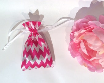 Party Favor Bags Hot Pink and White Chevron Satin with drawstring Birthday, Bridal Party, Baby Shower