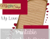 Digital Scrapbook Page Instant Download, Valentine digital scrapbbok page, printable valentine page