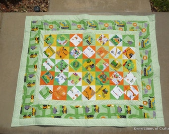 Baby Quilt - Dinosaur Construction Zone Theme Quilt - Hand Made Flannel Quilt - Baby Shower Gift