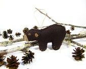 Personalized Bear Ornament, Bear Christmas Ornament, Bear Felt Christmas Ornament, Black Bear Ornament