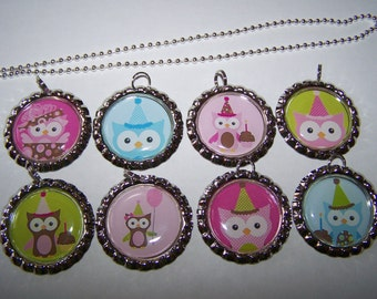 Owl Party Favors / Birthday Party Owls / Owl Bottle Cap Necklaces / Girls Birthday Party Favors