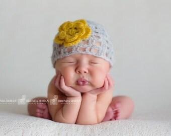 Newborn Lace Stitch Beanie - Newborn Cloche - Newborn photo prop - Newborn Beanie - Hand Crocheted - Photographer Prop
