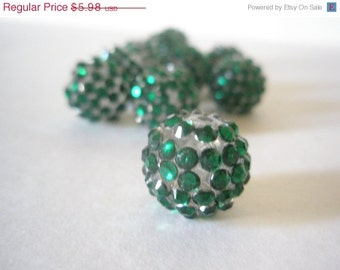 CLEARANCE SALE 16mm - HOT New Item -10 Rhinestone Resin Balls - Emerald Green Basketball Wives Inspired