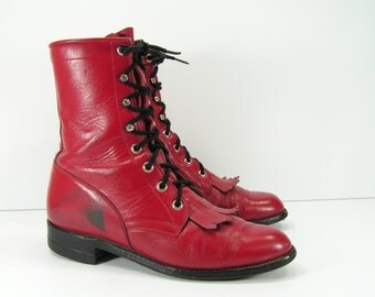 red ankle cowboy boots womens 6.5 C wide  western leather ropers granny paddock
