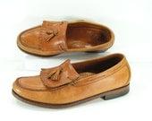 SAS shoes men's 11.5 D M brown tassel loafers 1970's leather vintage