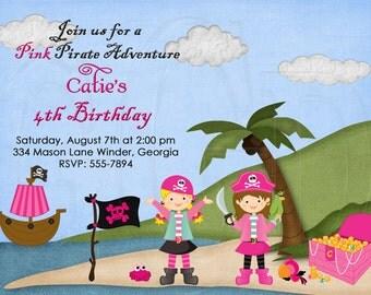 Pink Pirate Invitation -Digital File YOU print