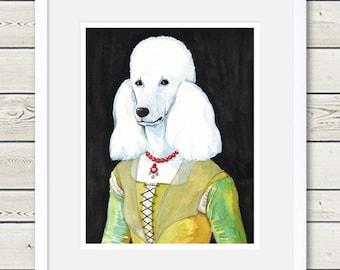 Poodle Art - Poodle Ghirlandaio - Dog Art - Poodle Painting, poodle portrait