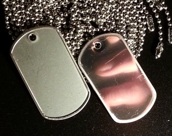 Military Tags - Stainless steel blanks with rolled edges - keys dog ID pendants and more - Choose from Matte or Shiny Finish