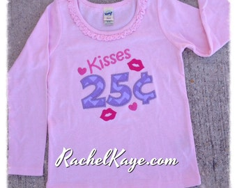 Kisses for sale girl valentines day appliqué shirt pink purple