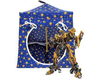 Toy Pop Up Tent, Sleeping Bags, royal blue, star print fabric for action figures, stuffed animals, dolls