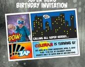 Super Hero superhero Photo Birthday Invitation, comic book invite, superhero party, superman, photo card, digital, printable