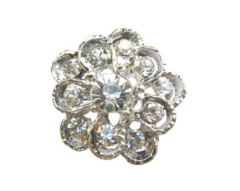 New Arrival - 5 Crystal Rhinestone buttons for hair accessories invitation card wedding scrapbooking RB-135 (21mm or 0.83 inch)