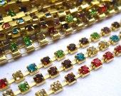 2ft Rhinestone Chain Muti-color Golden Link Chain for Fashion Design DIY Jewelry dc012
