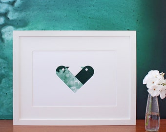 Love Birds - lovingly entwined to form a love heart - digital print in dark green by Erupt Prints
