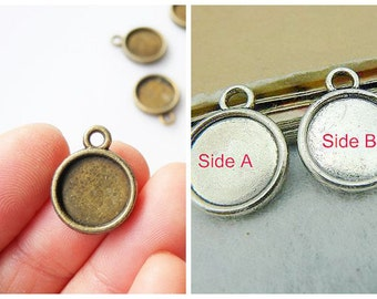 50PCS 12mm Double Sided Round Bezel Setting Cabochon Mountings with ring, 2 colors available- antique bronze, antique silver