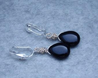 Garnet Clip on Earrings, Garnet Teardrop Bead Earrings, Dangle Earrings, Wire Wrapped Briolette Earrings