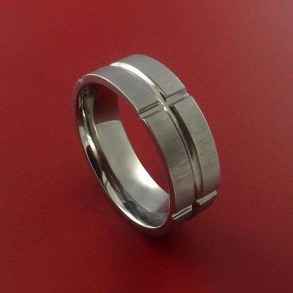 Titanium Ring Modern Wedding Band Made to Any Sizing 3-22 Unique Design