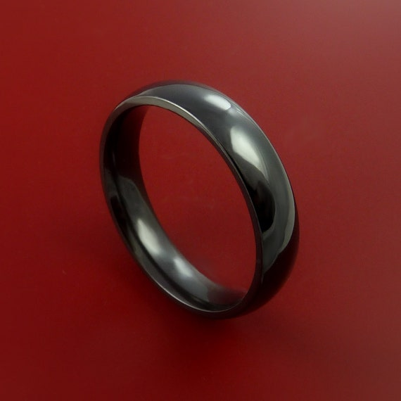 Black Zirconium Ring Traditional Style Ladies Band Made to Any Sizing and Finish 3-22