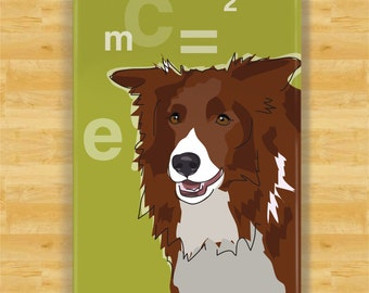 Red Brown Border Collie Gifts Refrigerator Magnets with Funny Sayings - Einstein