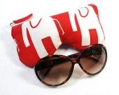 Curves Red/White Elephant Eyeglass Case, Sunglasses Pouch, Sunglasses Case, Zippered Eye Pouch
