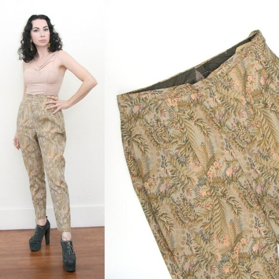 Vintage 60s Saks Fifth Ave High Waist Tapestry Cigarette Pants Riding Capri Pastel Large Glam Pin Up