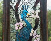 Turquoise blue Peacock Stained Glass Mosaic Window Repurpose Frame