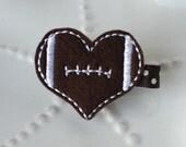 Felt Football Hair Clip- Heart Shaped