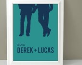 Personalized Couples Silhouette, Gay Wedding Gift for men, Personalized gay wedding gift, Same sex wedding gift, Engagment gift,