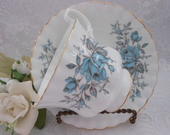 Vintage Royal Albert Teacup And Saucer Turquoise and Gray Roses With Lattice
