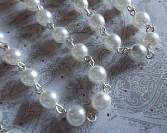 Bead Chain White Pearl 6mm Glass Beads on Silver Beaded Chain - Qty 18 inch strand