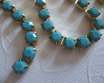 6mm Turquoise Rhinestone Chain - Brass Setting - Opaque Turquoise Czech Crystals - Large Crystal Size 29SS