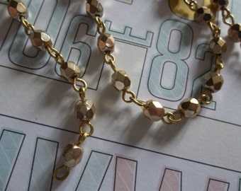 Faceted Gold 4mm Fire Polished Glass Beads on Brass Beaded Chain - Qty 18 inch strand
