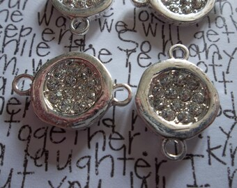 Jewelry Connectors - Round Silver with Bezel Pave Rhinestone Center - 17 x 26mm - Qty 4
