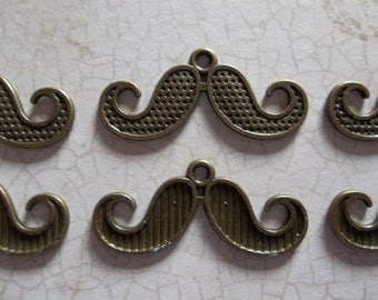 Antiqued Brass Mustache Pendants or Charms 15 X 30mm - Qty 6