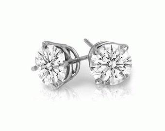 studs sterling silver white diamond