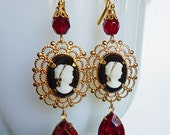 Lady in Red Vintage Cameo Earrings, B&W 1940s Glass Cameos, Gold Plated Frames, Vintage Red Drops, Czech Glass Beads, Gold Leverback Wires