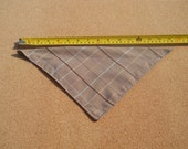 Medium Dog Bandana Tan Background with Teal Peach Brown and Gold Plaid Lines Fabric*