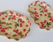 Vintage Set of 2 Wood Laminate Ruffled Edge Trays with Red Cherries