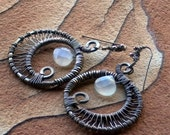 Reserved Michelle- Gypsy Moon .  Moonstone . Sterling Silver . Earrings